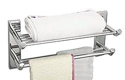Cipla Plast Bathroom Towel Rack with Double Rods - Global 226G + Free 14 Pcs Multipurpose Buffers - BRC - 226G