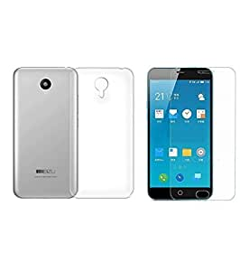 ZYNK CASE TRANSPARENT BACK COVER WITH TEMPERED GLASS FOR MEIZU M3 NOTE