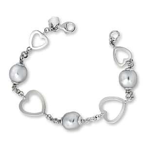 By Joy - JAB73 - Bracelet Femme - Coeurs - Argent 925/1000 11.4 gr - Perle - 20 cm