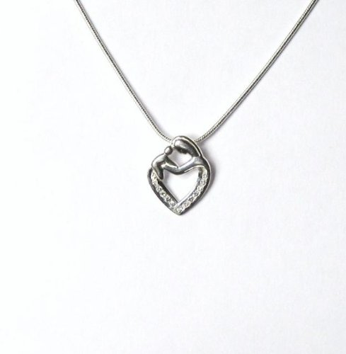 Midor925 925 Sterling Silver Mother & Child Pendant Necklace Md00341N In Gift Box