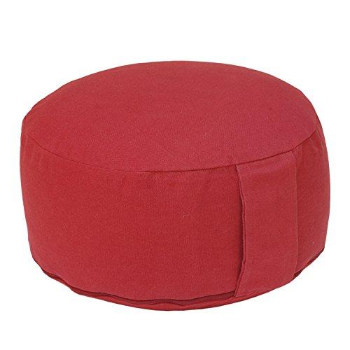 meditationskissen-rondo-basic-dinkel-mit-abnehmbarem-bezug-wein-rot-bequemes-klassisches-sitzkissen-