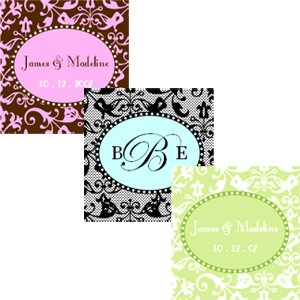 Square Damask Labels – Baby Shower Gifts & Wedding Favors Set of 20
