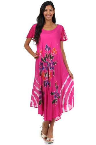 Sakkas 615D Embroidered Painted Floral Cap Sleeve Cotton Dress - Fuchsia / One Size