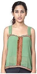 Izna Women's Slim Fit Top (IDWT105GR-Small, Green, Small)