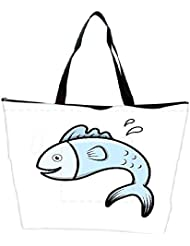 Snoogg Cute Cartoon Fish Vector Waterproof Bag Made Of High Strength Nylon