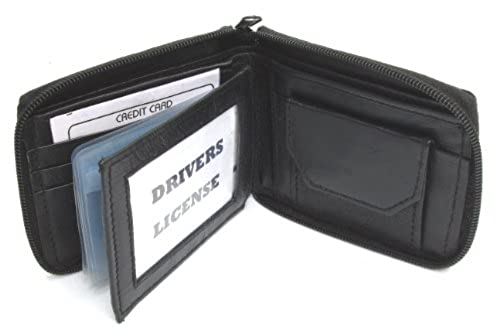 04. Mens Black Leather Wallet Lamb Zippered Bifold 782