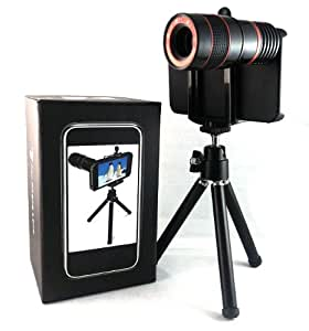 8x Optical Zoom Telescope Lens with Mini Tripod and Universal Holder for Apple iPhone 4 4G Black