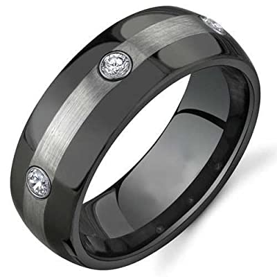 King Will 8mm Black Two Tone Tungsten Carbide Ring Wedding Band Matte Finished 3 Cubic Zirconia Stones