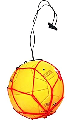 2 Elastic Bungee Soccer Ball Kicking Net Handle Red