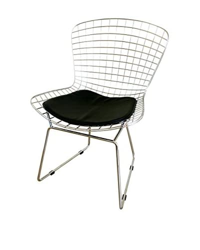 Baxton Studio Tancredo Mesh Side Chair With Seat Pad, Chrome/Black As You See