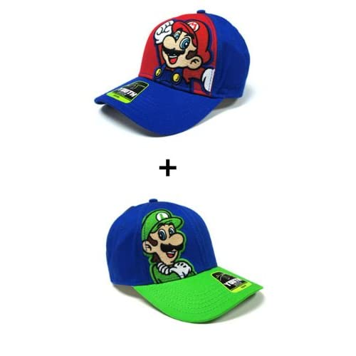 Nintendo Video Super Mario Brothers Video Game Hat Set   Luigio Green and Blue and Mario Blue RED Face Logo Adjustable Cap