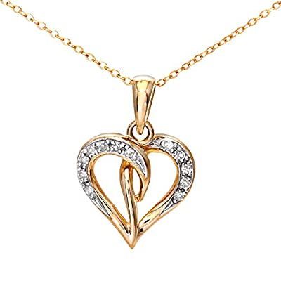 Ariel 9ct Yellow Gold Pave Set Diamond Heart Pendant and Chain of 46cm