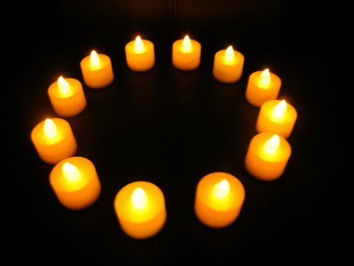 PK Green Set of 12 Amber LED Candles, Waxless, Flameless Tea Lights for Festivals & Decoration