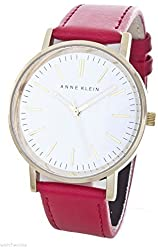 Anne Klein Women's White Dial Gold-tone Detail Red Leather Band Watch AK/1780WTRD