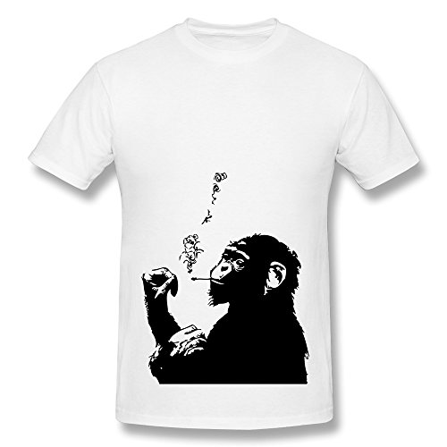 PTHF Men's Smoking Gorilla Graphic Tshirt White