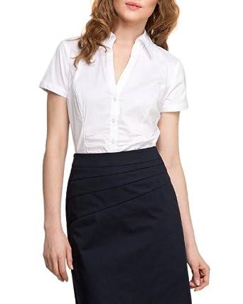 Comma Damen Bluse Regular Fit 85.899.12.0886 BLUSE KURZARM, Gr. 36, Weiß (0100 white)