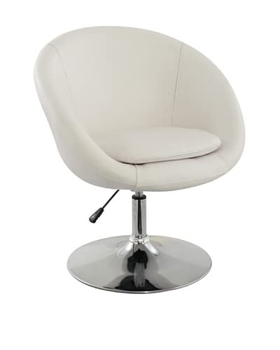 International Design USA Barrel Adjustable Swivel Leisure Chair, White