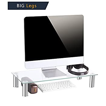 """Black Friday Deals TAVR Clear Computer Monitor Stand Desktop Riser with Tempered Glass Height Adjustable 23.6 x 10.2"""" CM2001"""