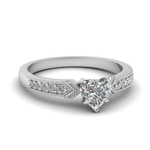 Fascinating Diamonds Marvelous Engagement Ring Pave Set 1.50 Ct Heart Shaped Cut:Very Good Diamond Gia
