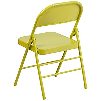 Flash Furniture HERCULES COLORBURST Series Twisted Citron Triple Braced & Double Hinged Metal Folding Chair