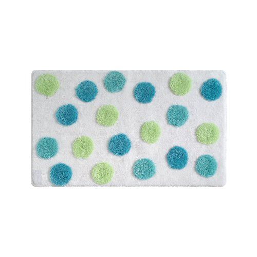 InterDesign Glee Bathroom Shower Accent Rug - Polka Dot, Blue/Green