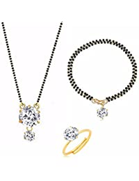 Archi Collection Jewellery Combo Of American Diamond Mangalsutra Pendant With Chain, Mangalsutra Bracelet And...