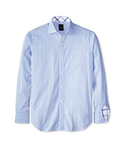 TailorByrd Men's Long Sleeve Shirt with Reverse Check Cuff