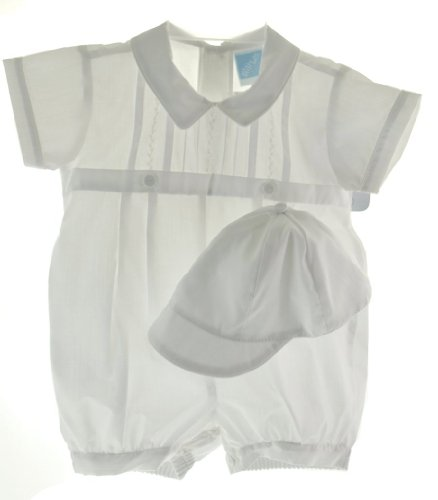Willbeth Infant Baby Boys White Christening Baptism Romper Outfit With Cap - 18M