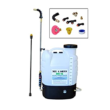 4-Gallon Battery Powered Backpack Sprayer Wide Mouth With STEEL WAND and BRASS NOZZLE