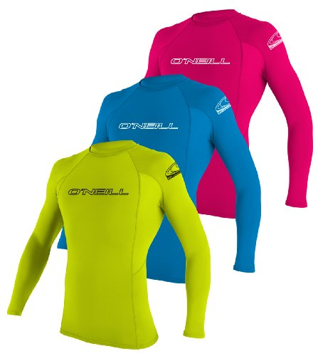 O'Neill Wetsuits Youth Basic Skins Long Sleeve Crew Rash Guard Shirt, Watermelon, 6 front-393239