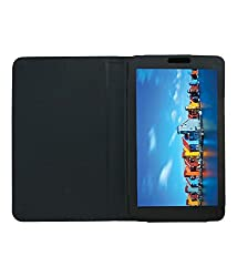 Acm Executive Leather Flip Case For Iball Slide Q7271 Ips20 3g Tablet Front & Back Flap Cover Stand Holder Black