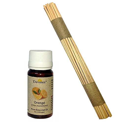 Devinez Premium Reed Sticks/ Refill Pack For Reed Diffusers 10 Inches (100 Sticks) With Free 15ml Orange Oil For...