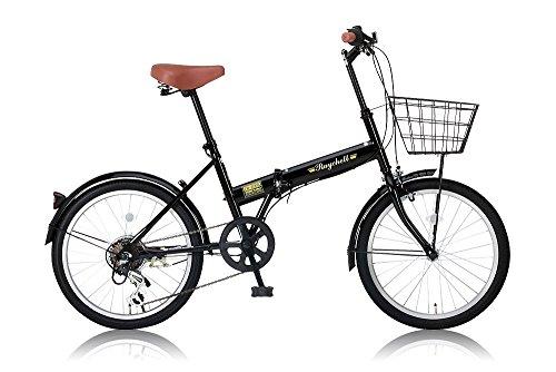 Raychell(レイチェル) 20インチ折りたたみ自転車 シマノ6段変速 カゴ・泥除け標準装備 カギ・ライト付属 FB-206R ブラック