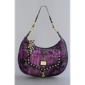Betsey Johnson The Hobo in Purple Pretty in Plaid,Bags (Handbags/Totes) for Women