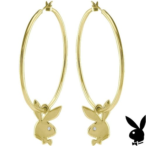 Playboy Earrings Hoops Bunny Charms Swarovski Crystals Gold Plated Genuine Authentic Licensed Jewelry Jewellery