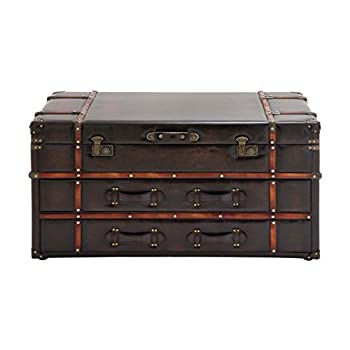 "Deco 79 55747 Wood Leather Coffee Table, 40"" x 21"", Dark Brown"