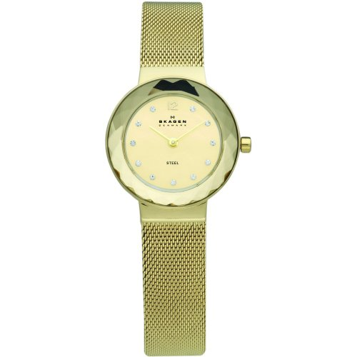 Skagen Designs Ladies Quartz Watch with Gold Dial Analogue Display and Gold Stainless Steel Strap 456SGSG