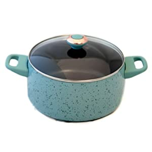 Paula Deen Signature Porcelain Nonstick 6-Quart Covered Stockpot, Aqua Speckle
