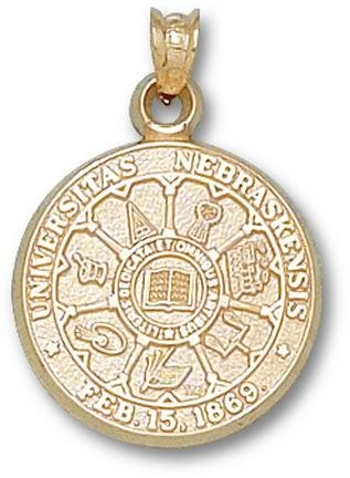 Nebraska Cornhuskers Seal Pendant - 14KT Gold Jewelry by Logo Art