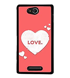Love Hearts 2D Hard Polycarbonate Designer Back Case Cover for Sony Xperia C :: Sony Xperia C HSPA+ C2305