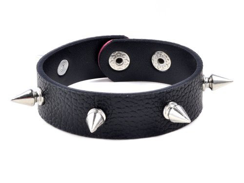 Men's Black PU Leather Spike Metal Buckle Bracelet Punk Biker Rock Gothic