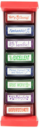 "Ecr4Kids ""Wow!"" Teacher Stamp Set, 8-Piece, 2.25 X 2.75 X 8"", 2-Pack, Assorted front-1042671"
