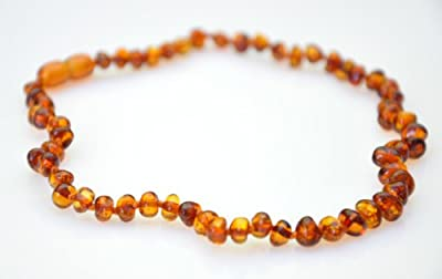 Amber teething necklace. COGNAC BAROQUE BABY Amber Necklace. Authentic Baltic Amber Baby Teething Necklace from Barin Toys