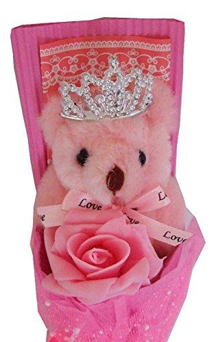 人気 かわいい ベアブーケ くま束 熊束 クマ束 ぬいぐるみ 花束 プレゼント 記念日 誕生日 (ベアブーケ ピンク 1個 + メッセージカード 2枚)