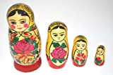 Authentic Russian Hand Painted Handmade Semenov Nesting Dolls Set of 4 Pieces Matryoshkas Kid's gift
