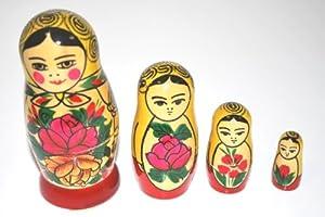 Authentic Russian Hand Painted Handmade Semenov Nesting Dolls Set of 4 Pieces Matryoshkas Kid's gift
