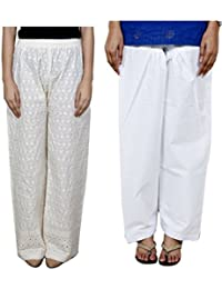 Indistar Women Full Cotton Chikan Cream Palazzo With Cotton White Seme- Patiala Salwar - Free Size (Pack Of 1 Palazzo With 1 Patiala Salwar)