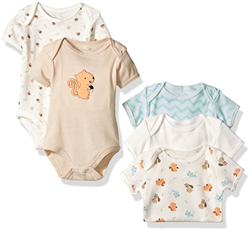 Rene Rofe Baby Lap Shoulder 5 Piece Bodysuit, Little Brown Squirrel, 3-6 Months