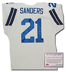 Deion Sanders Dallas Cowboys NFL Hand Signed Authentic Style Home White Football Jersey
