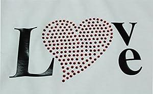 T-Shirt I Love Freiburg mit einer Strassaplikation für Damen in der Farbe schwarz und weiß